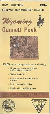 USGS BLM edition topographic map Wyoming GANNETT PEAK 1994 surface only