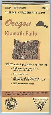 USGS BLM edition topographic map Oregon KLAMATH FALLS 1993