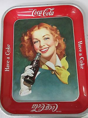 Authentic Coke Coca Cola 1950  Advertising Serving Tin Tray  G-600