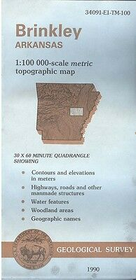 US Geological Survey topographic map metric BRINKLEY Arkansas 1990