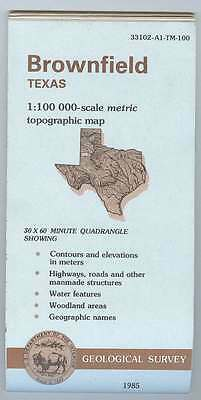US Geological Survey topographic map metric BROWNFIELD Texas 1985