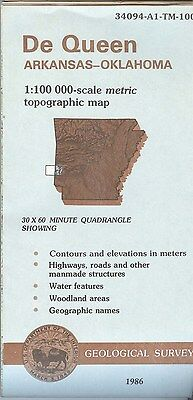 US Geological Survey topographic map metric DE QUEEN Arkansas-Oklahoma 1986