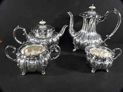 Vtg FAB English Silver on Copper Silverplate Floral Engraved COFFEE TEA SET 4 Pc