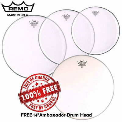 """Remo Clear Emperor Drum Head Skin Pack Fusion inc FREE 14"""" AMB 10"""", 12"""", 14"""""""