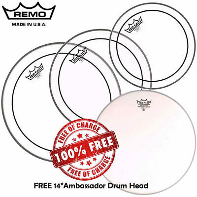 """Remo Clear Pinstripe Drum Head Skin Pack Fusion Plus FREE 14"""" AMB 10"""" 12"""" 16"""""""