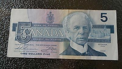 Canadian $5 Dollar Bank Note Bill GNS3843371 Circulated 1986 Canada