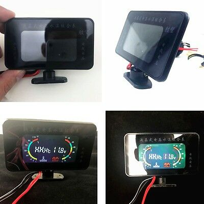 Car LCD Digital Voltmeter Water Temperature Gauge Black For Car  Three-way model