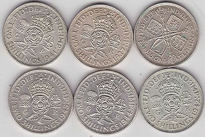 George V & Vi 50% Silver Florins 1936/1937/1941/1942/1944 & 1945 In Very Fine