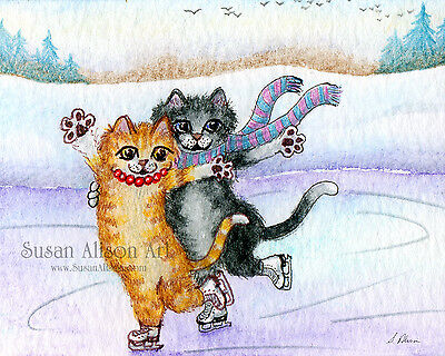 Ice skating duo cats 8x10 print figure attitude position ginger tabby tuxedo cat