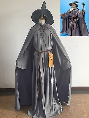 Lord Of The Rings Gandalf Wizard Cosplay Costume Halloween Party Adult + hat