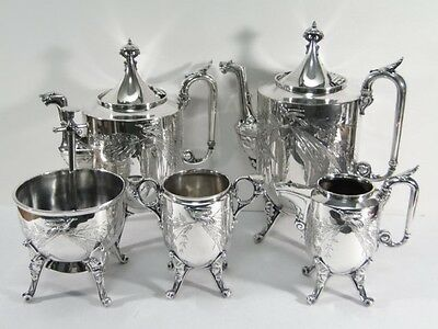 Antique Victorian Reed & Barton Silverplate Aesthetic 5 pc TEA SET - Butler Bell