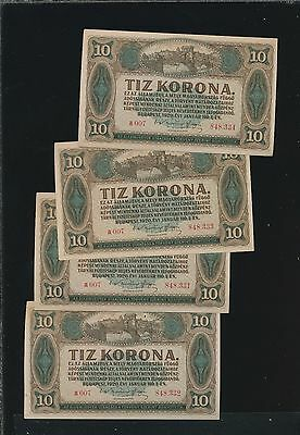 Hungary 1920 10 Korona - P60 Cu (4 Notes) #b