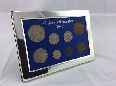 1947 Luxury Silver Framed Coin Year Gift Boxed Set - 70th Birthday/Anniversary