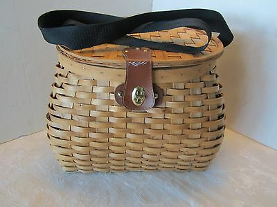 Basket Rattan Basket Woven Fishing Hunting Berry Creel style shoulder strap