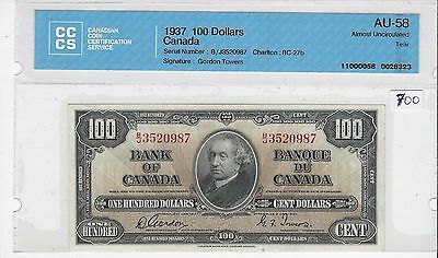 **1937**Gordon/Towers Canada $100 Note CCCS AU-58; SN/ BJ 3520987