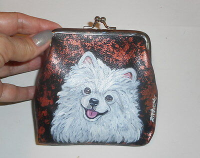 White Pomeranian dog Hand Painted Leather Coin Purse Vegan