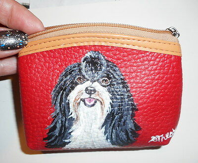 Havanese dog Hand Painted Leather Coin Purse Vegan
