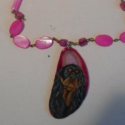 Cavalier King Charles Spaniel dog Beaded Necklace Hand Painted Agate Pendant