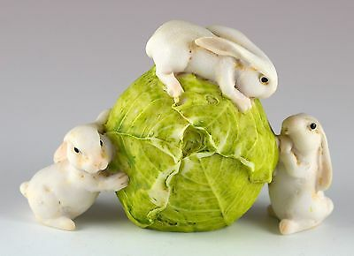 """Miniature 3 White Bunny Rabbits Rolling Cabbage Figurine 3"""" Long New In Box!"""