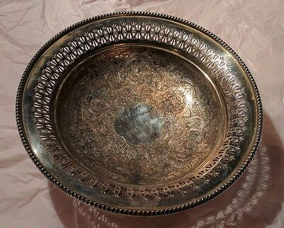 Antique Hawksworth, Eyre, & Co. Ltd England Silver Plated Engraved Serving Bowl