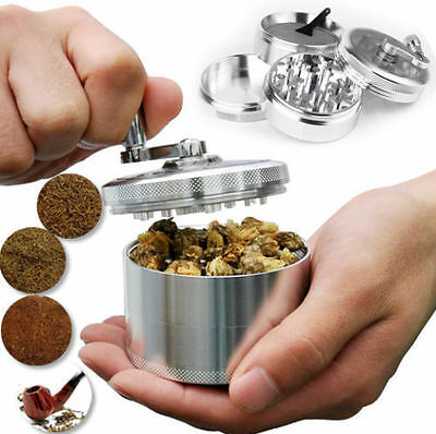 """Herb Grinder Crusher for Tobacco 4 Piece 2"""" Zinc Hand Muller Spice Silver 4pc"""