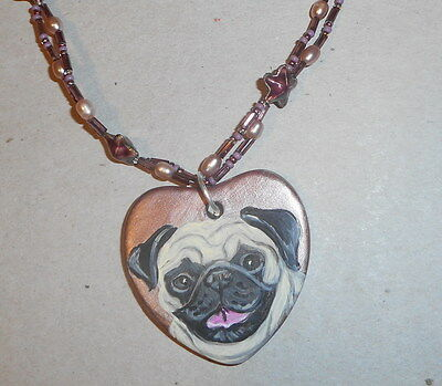 Fawn Pug Dog Beaded Necklace Hand Painted Ceramic Pendant