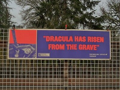 >Old/RARE 1969 Dracula Has Risen From The Grave 82x24 MOVIE THEATRE LOBBY BANNER