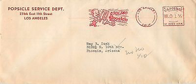 1 1/2 Cent LA California To Phoenix Meter Cancel On Popsicle Advertising Cover.