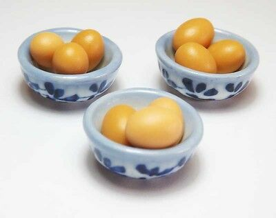9 Dollhouse Miniature Eggs in 3 Ceramic Bowls * Doll Mini Food Kitchen Bowl Egg