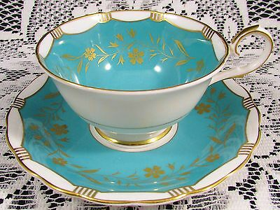 Susie Cooper Turquoise Gold Gilt Floral Tea Cup And Saucer