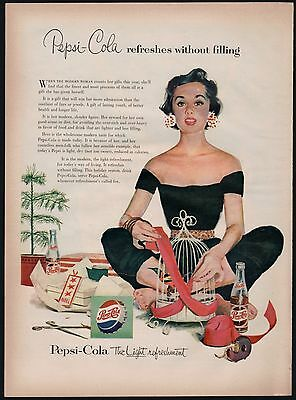 1954 PEPSI-COLA Soda Pop AD Woman in Black Capri Pants Christmas Wrapping