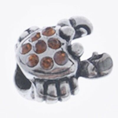 Antique Silver Topaz Rhinestones CRAB 13mm Large 4.5mm Hole Charm Bead 1pc