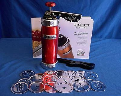 Marcato Biscuit Machine Red - Quality Italian Made Biscotti Maker 20 Shapes