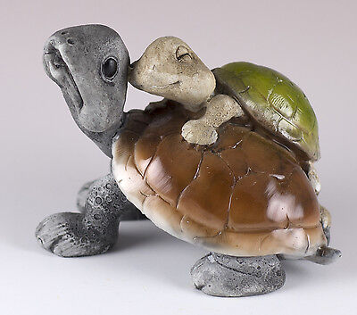 """Turtle Tortoise With Baby Figurine 2.75"""" Long Resin New In Box!"""