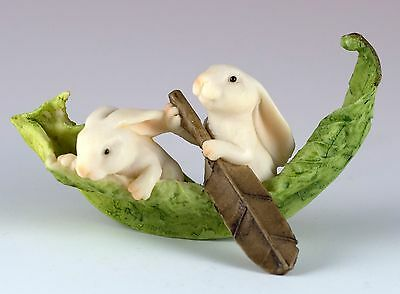 "Miniature White Bunny Rabbits Rowing In Leaf Boat Figurine 3"" Long New In Box!"