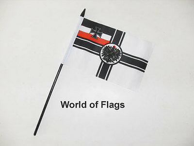 "GERMAN IMPERIAL SMALL HAND WAVING FLAG 6"" x 4"" Germany WW1 Table Desk Display"