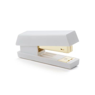 Zodaca Deluxe Acrylic Design Office Stapler 15 sheets Capacity, White/Gold