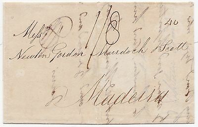 * 1815 RARE POST PAID WITHDRAWN LONDON SHIP LETTER THOS MURDOCH TO MADEIRA 1/8d
