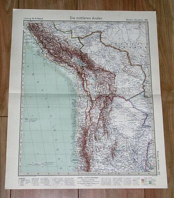 1932 Original Vintage Map Of Peru Chile And Bolivia Andes South America