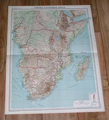 1922 Original Vintage Map Of Central And South Africa Namibia Tanzania Congo