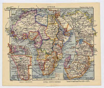 1943 Original Vintage Wwii Map Of Africa British French Former German Colonies