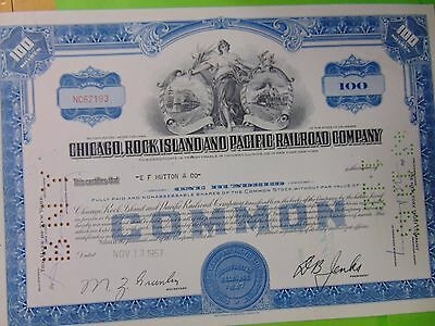 1957 CHICAGO ROCK ISLAND & PACIFIC Railroad Company Stock 100 Shares NC62193