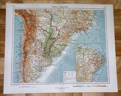 1928 Map Of Argentina Chile Brazil / South America