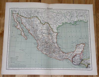 1906 Antique French Map Of Mexico / Texas