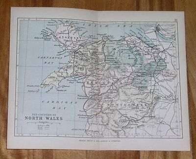 1882 Map Of North Wales / Montgomery Merioneth Denbigh Carnarvon Anglesey