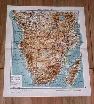 1926 Original Vintage Map Of Africa South Africa Tanzania Tanganyika Congo