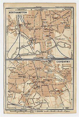 1906 Antique City Map Of Coventry Northampton / East / West Midlands / England