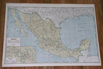 1939 Vintage Large 21 X 15 Map Of Mexico / Texas