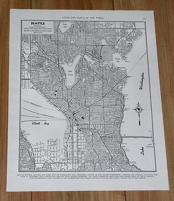 1949 Original Vintage City Map Of Seattle / Washington