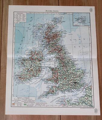 1937 Map Of Great Britain United Kingdom England Wales Scotland Ireland